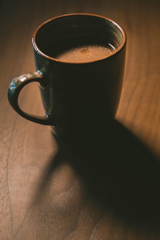 coffee in green ceramic mug