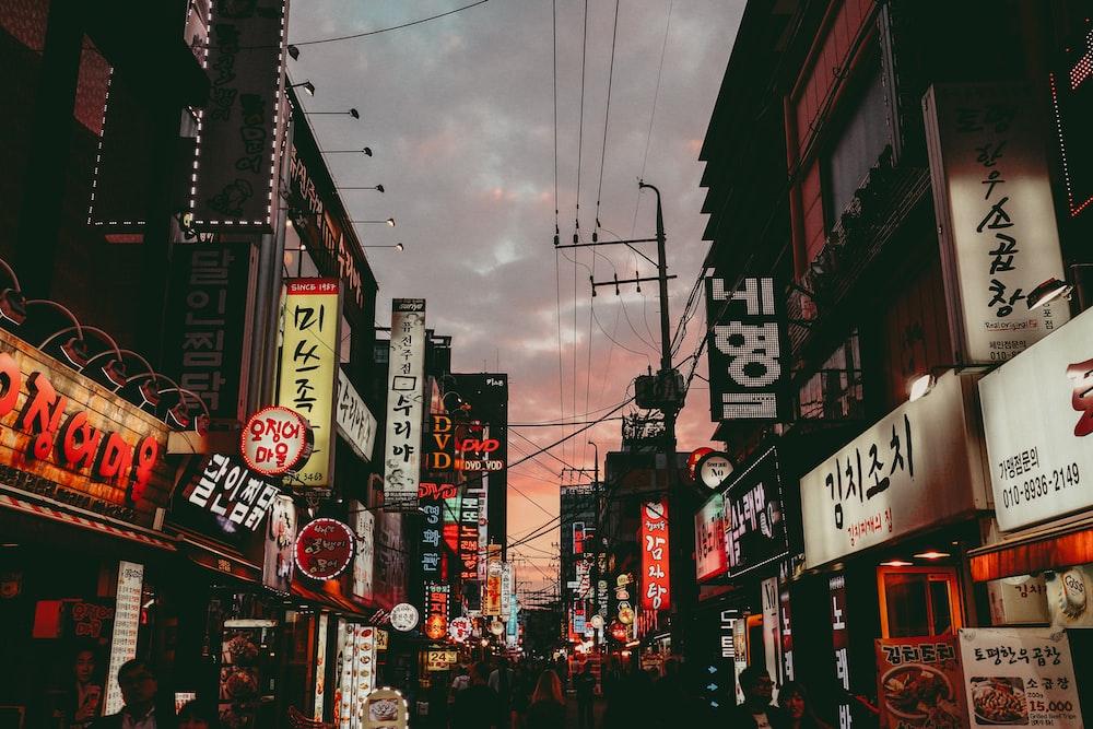 city under cloudy sky