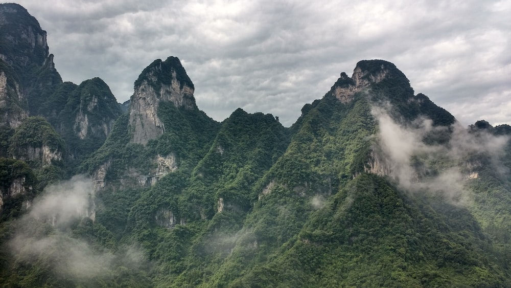 green plant covered mountains