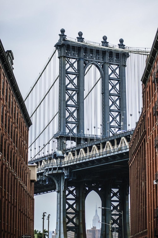 low-angle view photo of Manhattan bridge