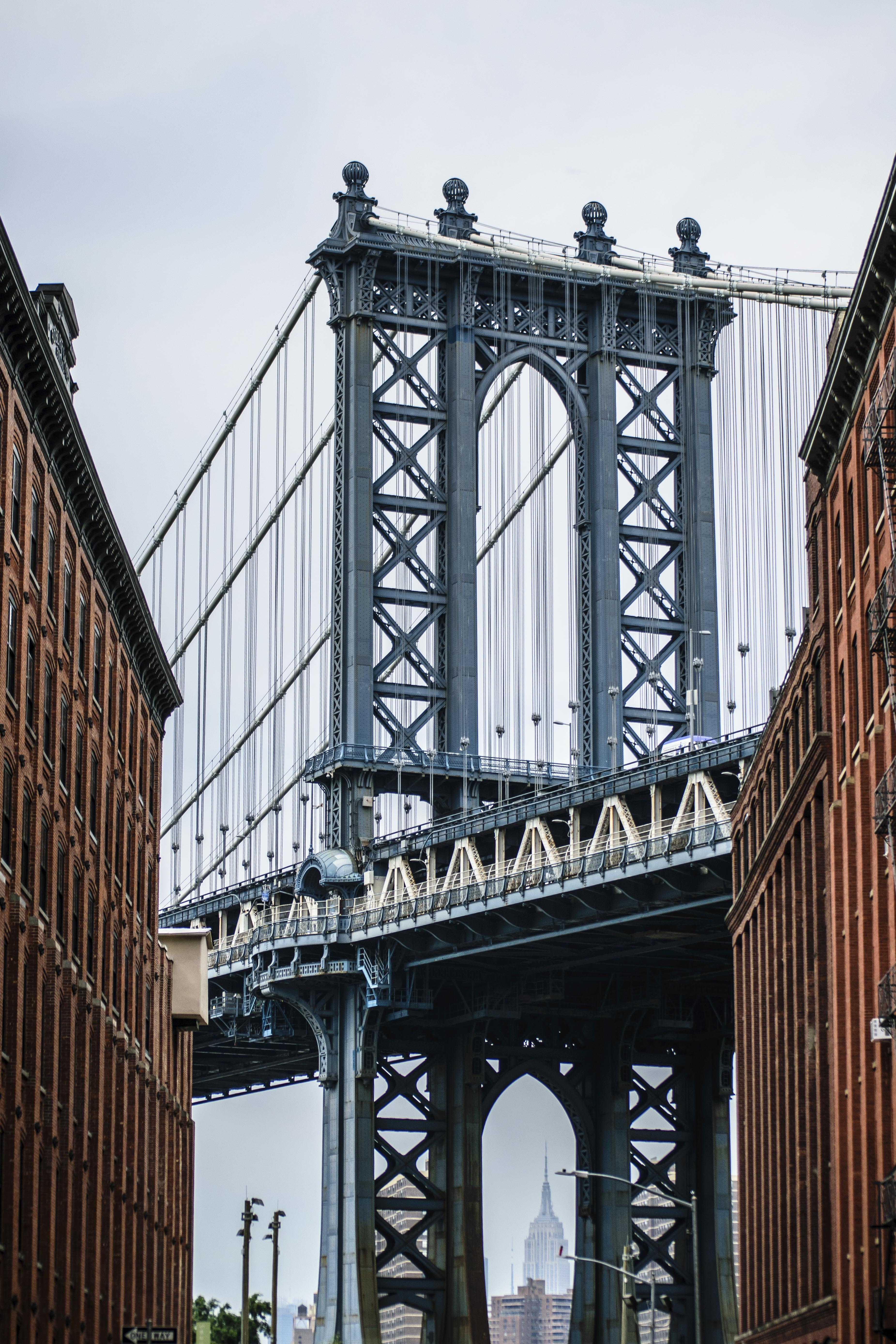 low-angle view photo of Manhattan bridge
