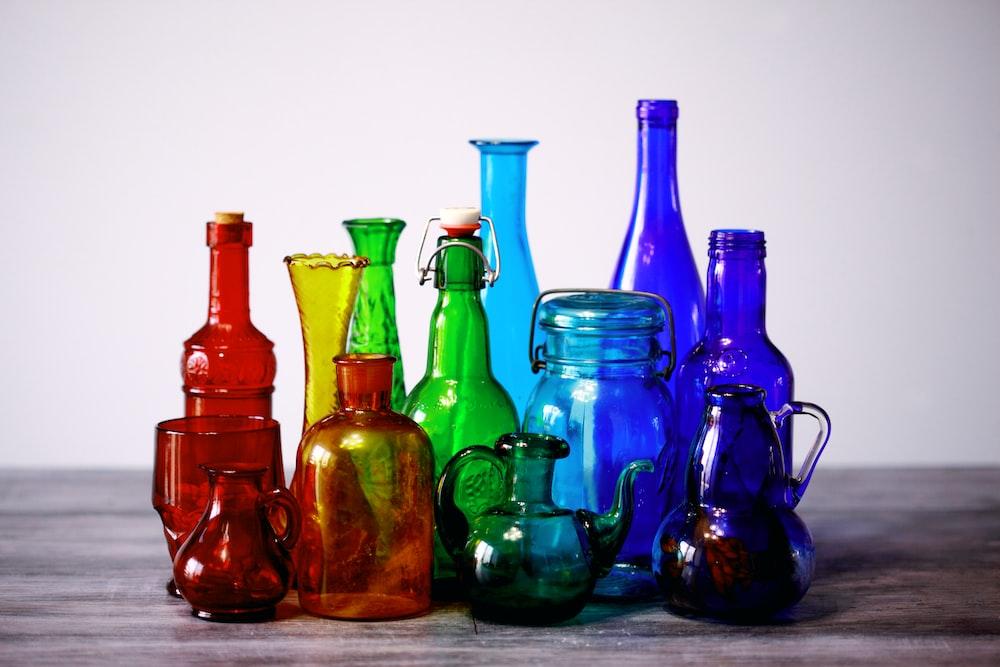 assorted glass bottles