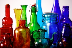 multicolored glass bottles