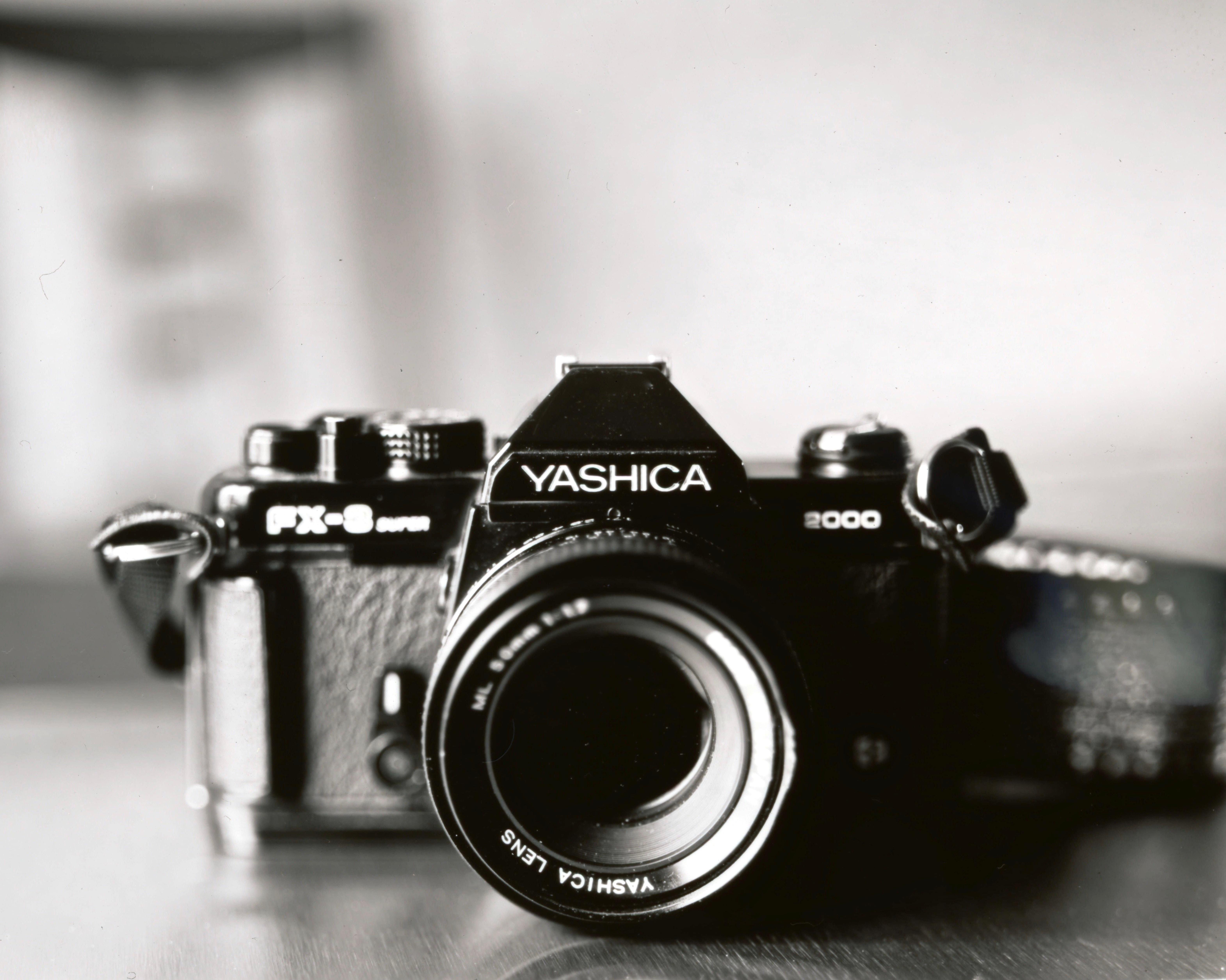grayscsale photo of Kyocera Yashica FX-8 2000 camera