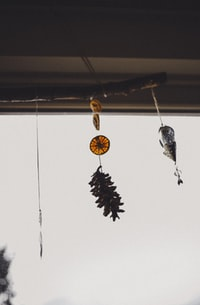 brown and grey hanging decorations