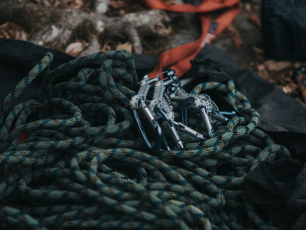 gray safety harness on focus photo
