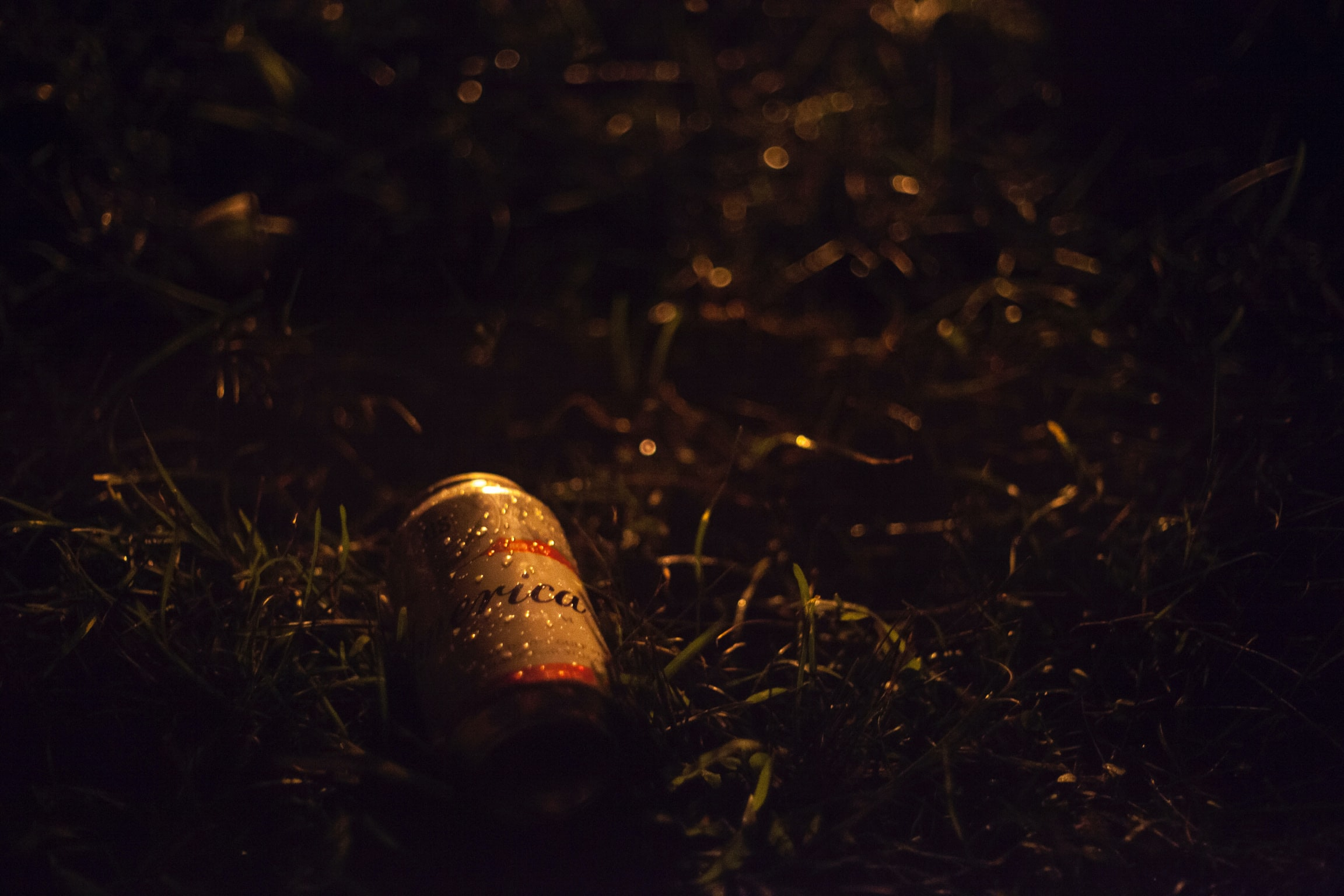 gray and red beverage can on grasses