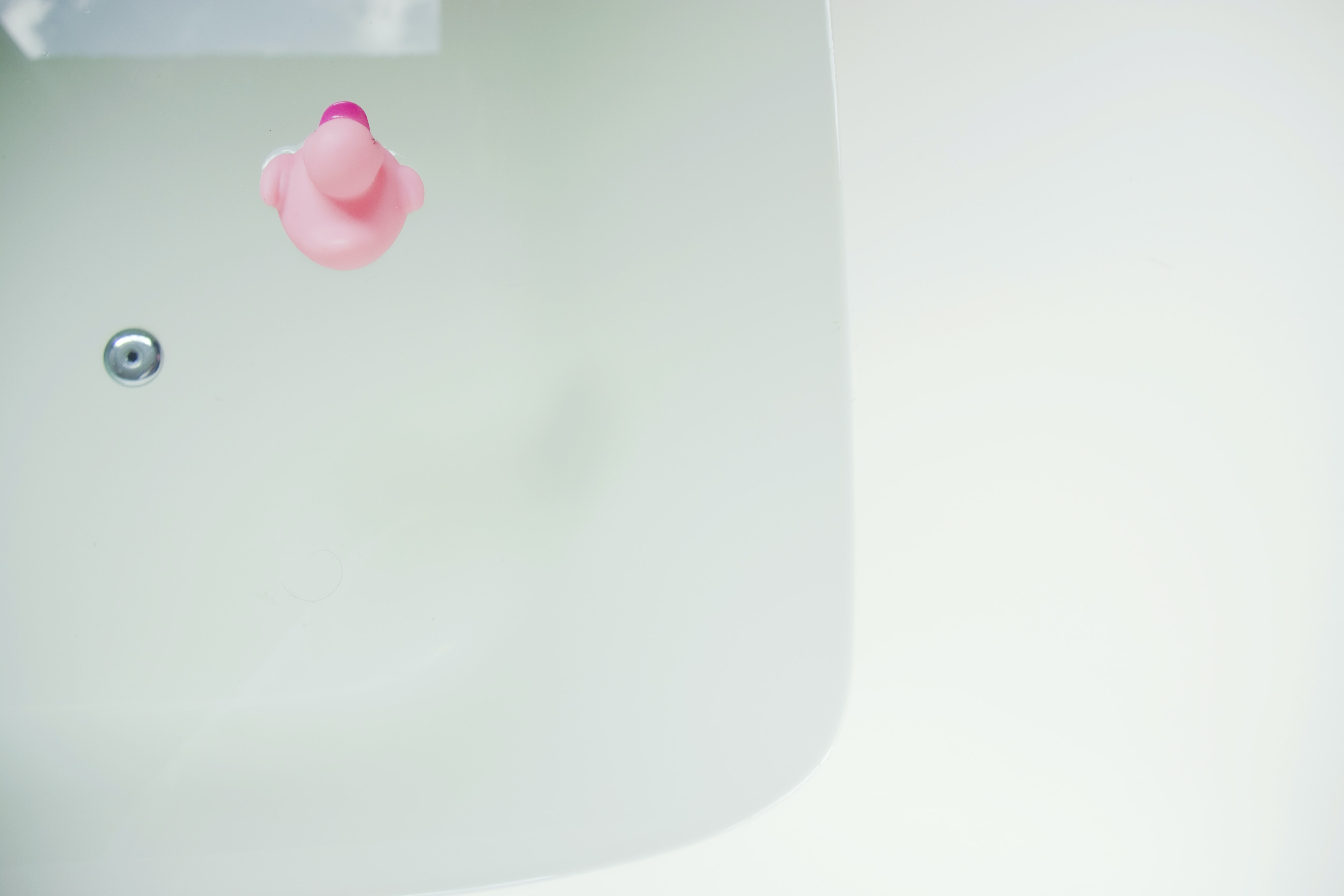 pink rubber duck on bathtub
