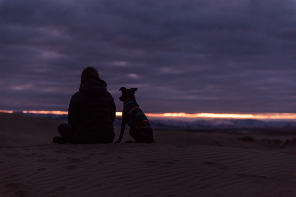 man and dog sitting on sand during sunset
