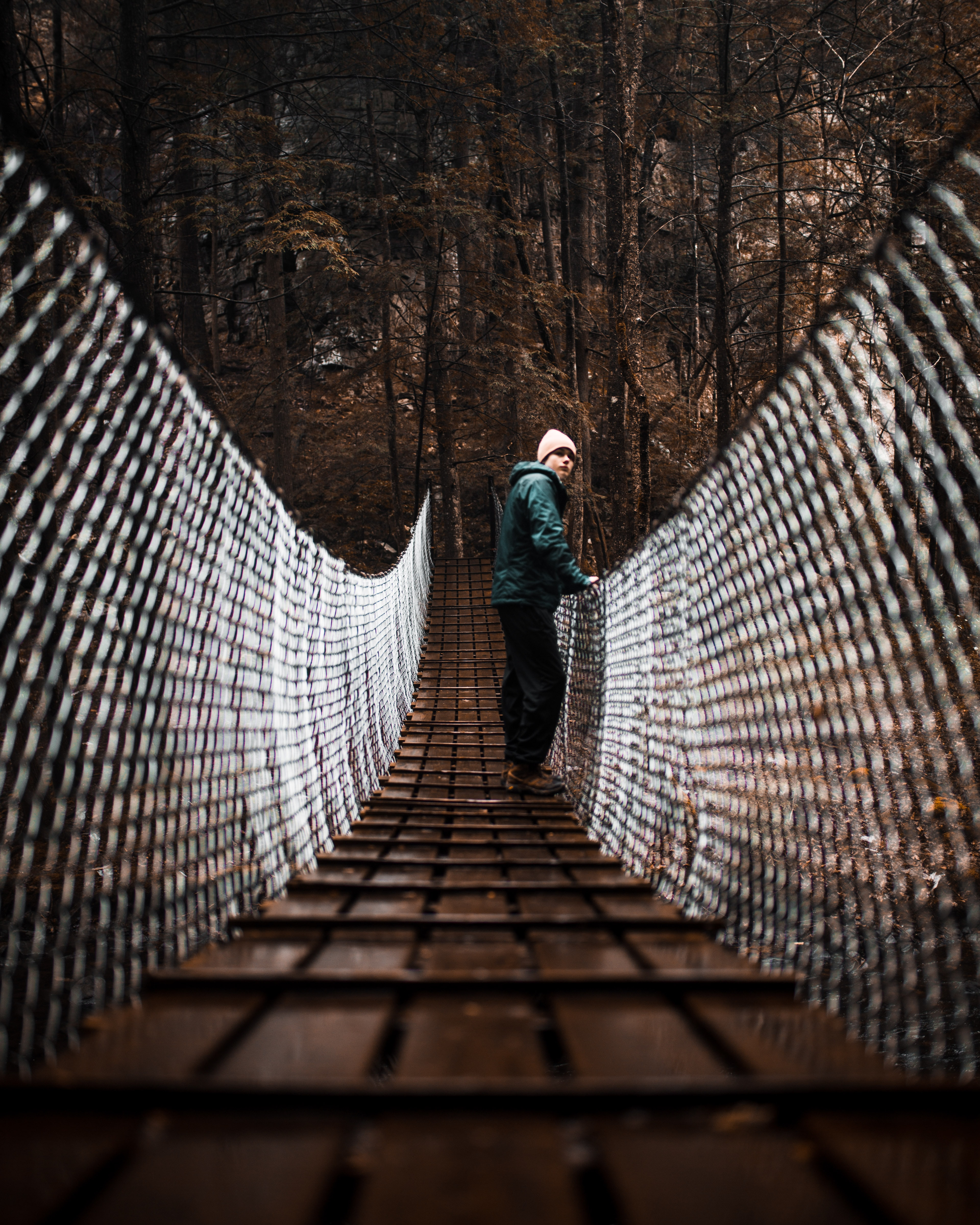 woman standing at bridge