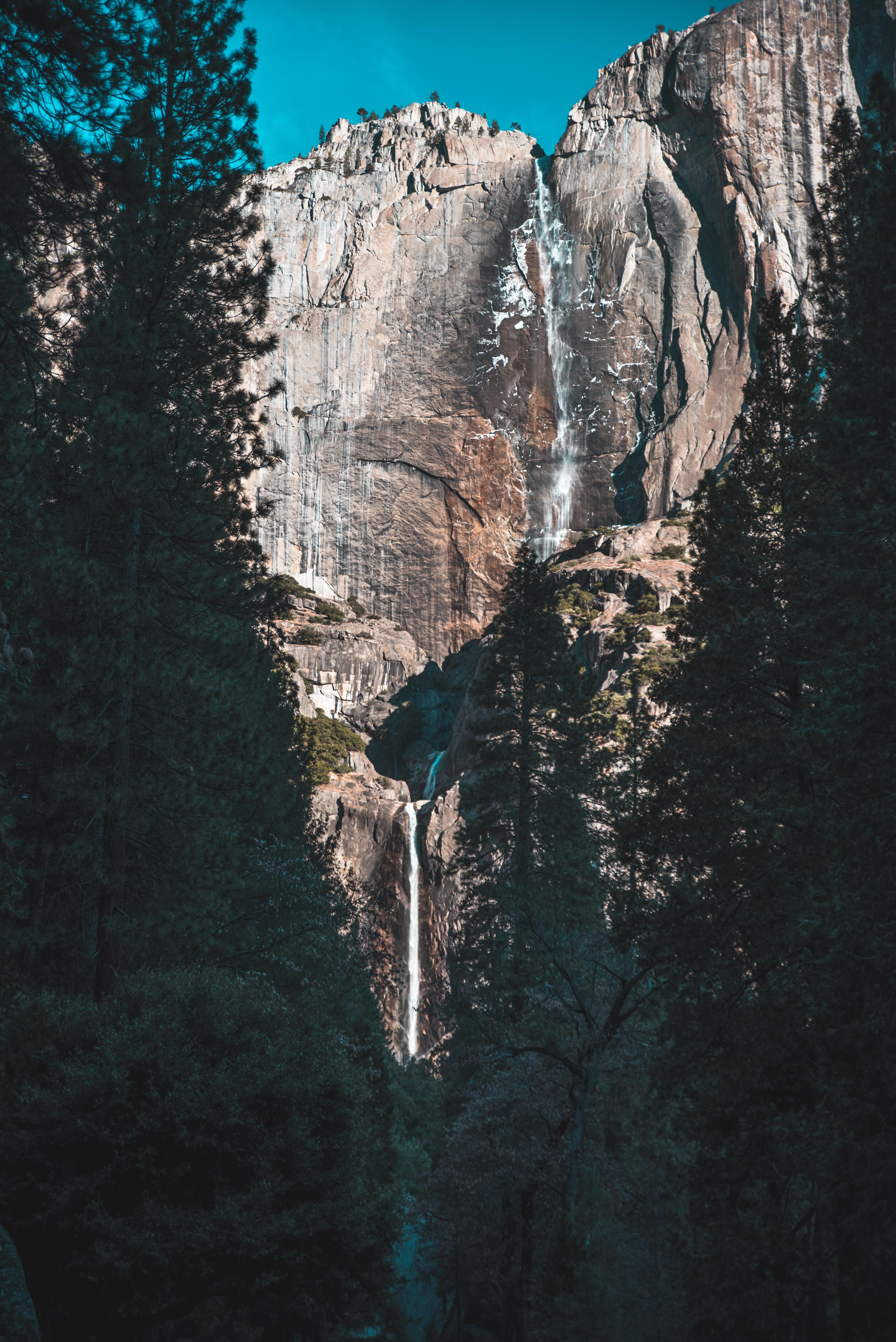 waterfalls on rock mountain