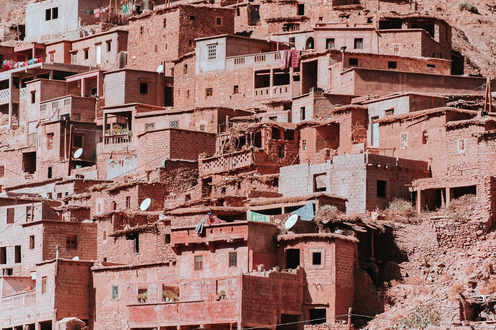 brown bricked village