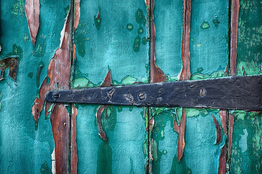 green wooden surface