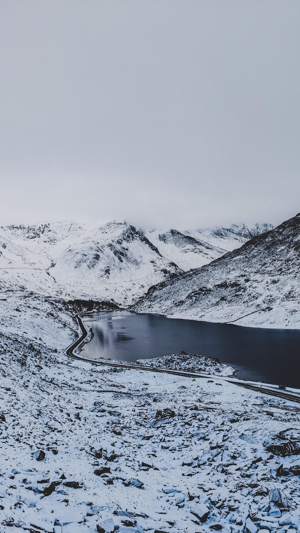 body of water between mountain