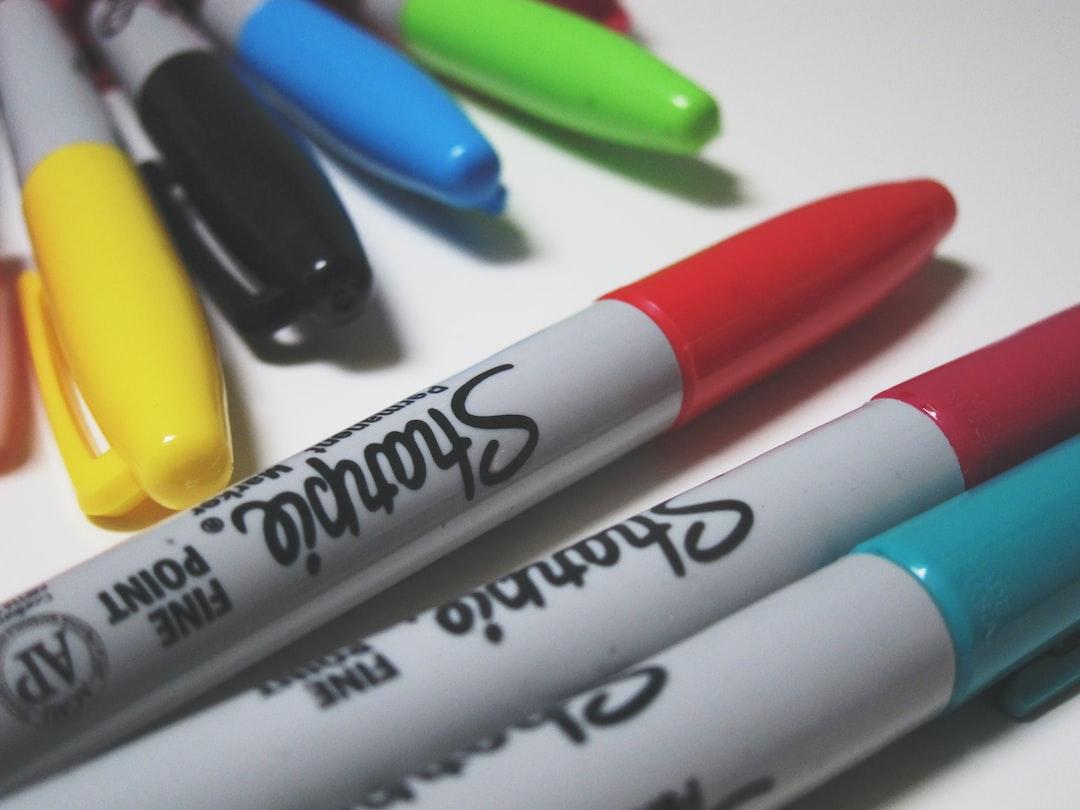 Colourful sharpie pens.