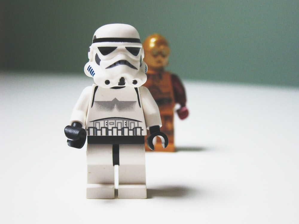Lego Star Wars C3-P0 behind Stormtrooper toys