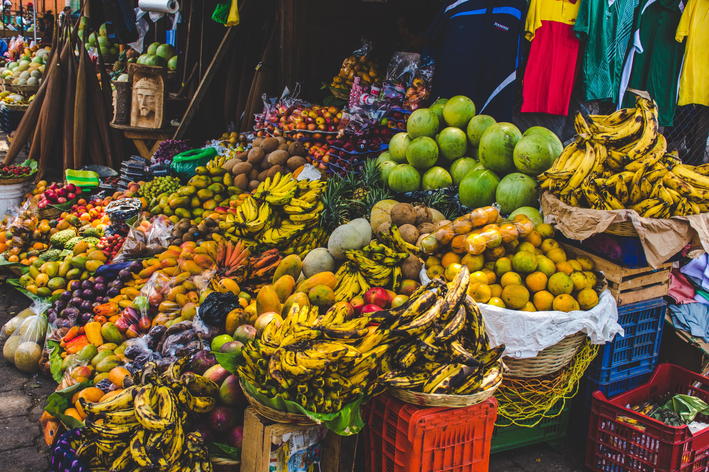 bunch of fruit display on basket