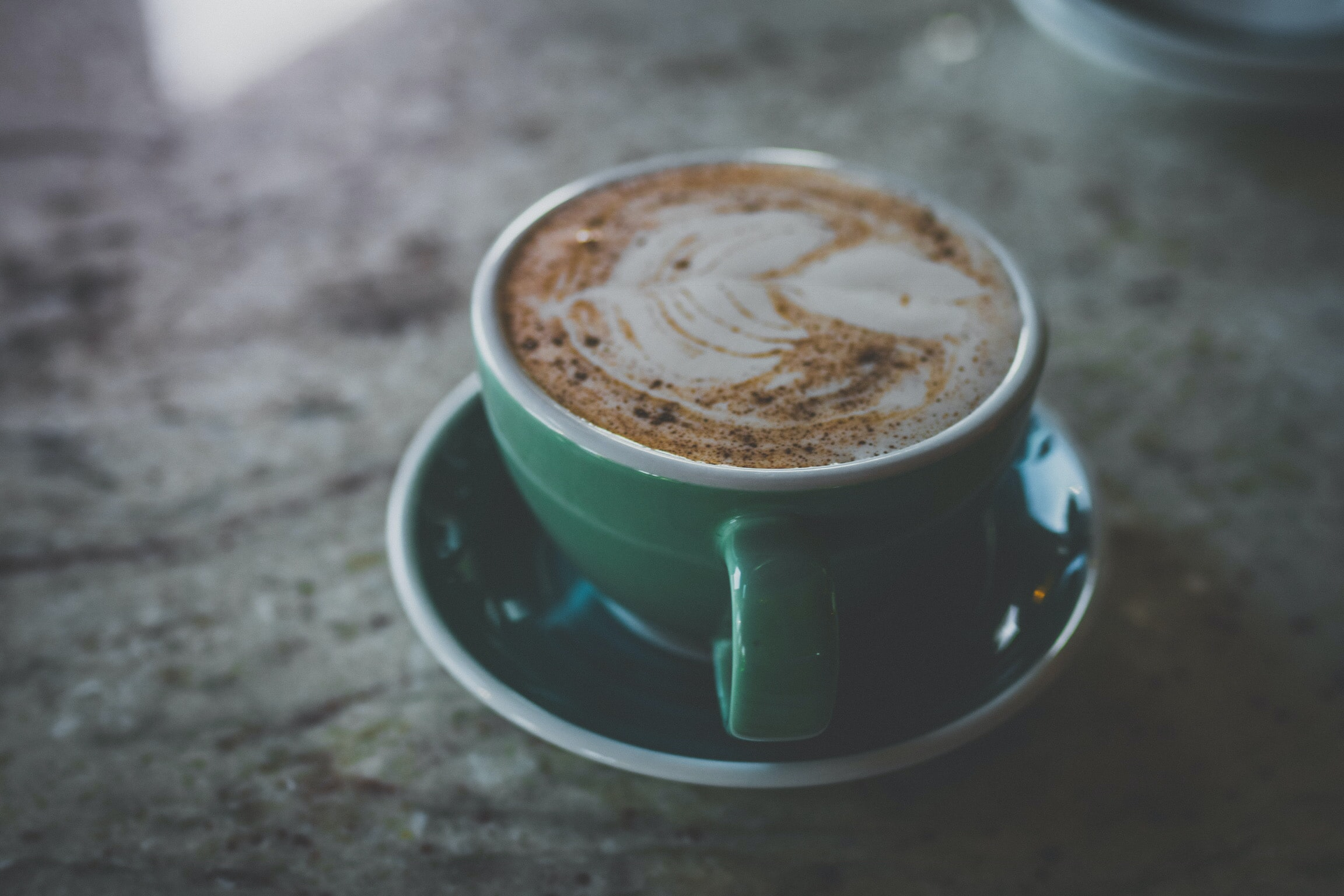cappuccino in green cup