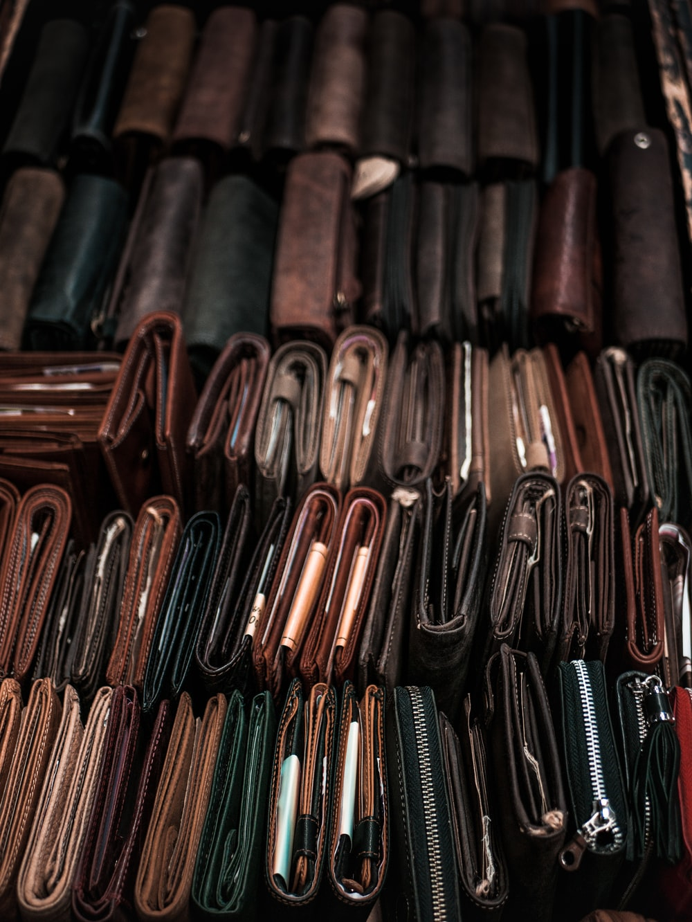 assorted-color leather bifold wallets lot