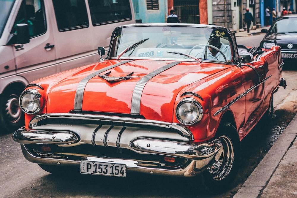 classic orange convertible coupe