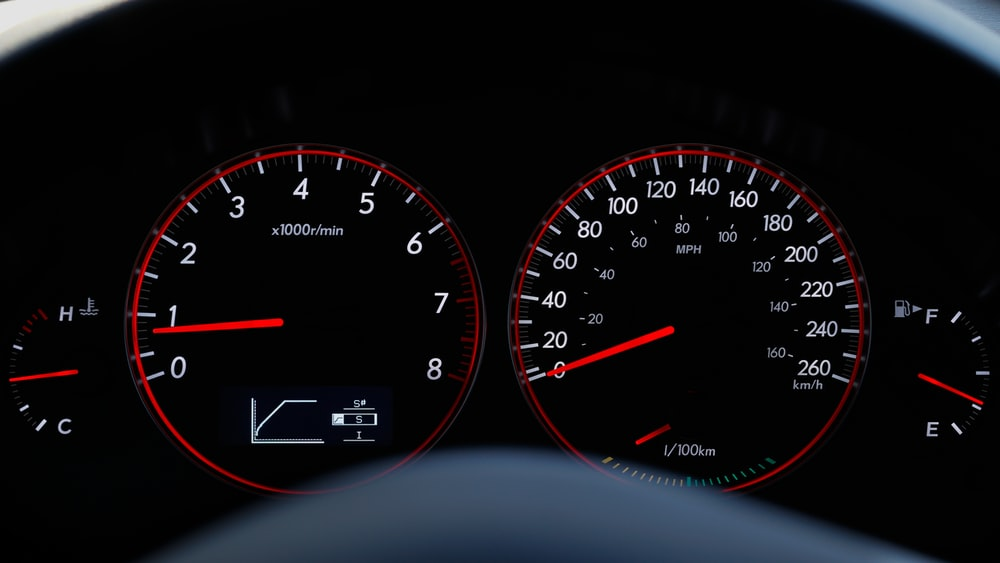 vehicle instrumental panel cluster displaying 0.8