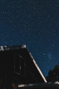 house under starry sky