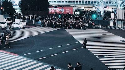 people walking while crossing pedestrian lane