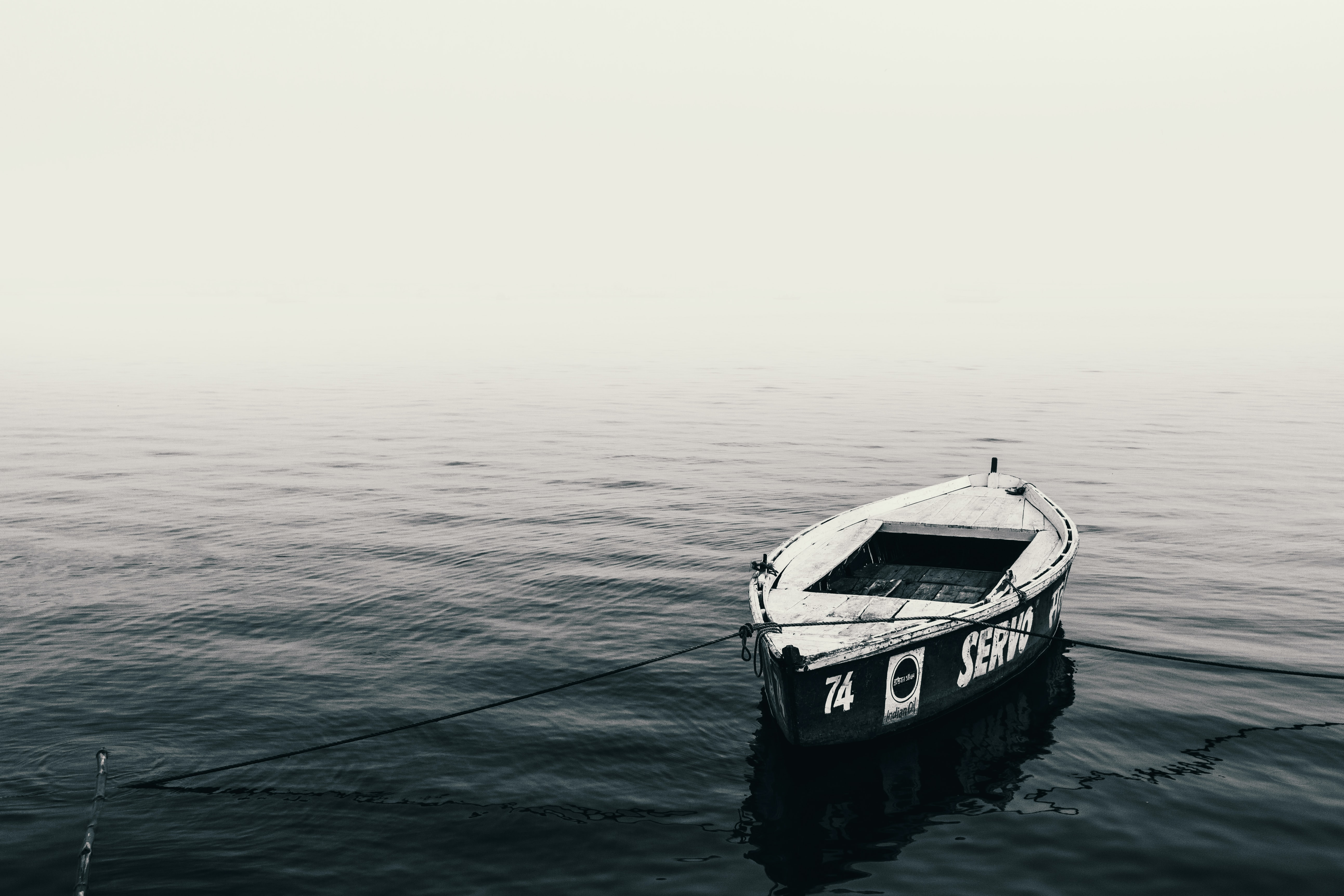photo of white canoe on body of water