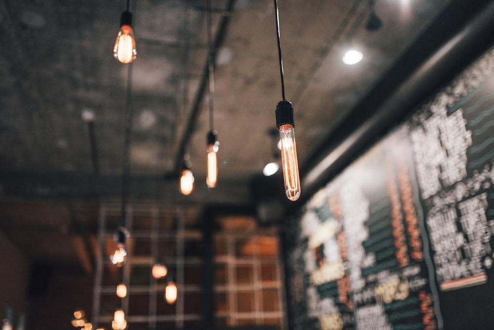 black pendant lights inside room