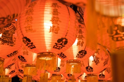 macro shot photography of paper lantern chinese new year teams background