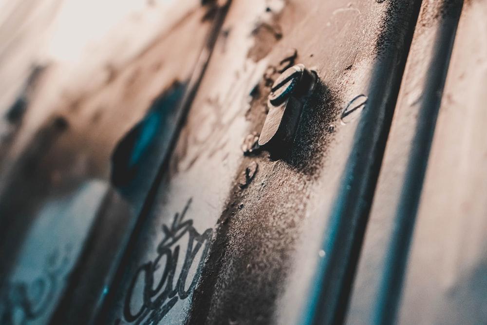 brown metal keyhole