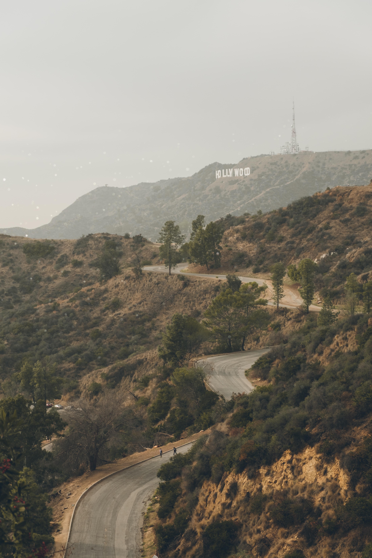 aerial view of asphalt road in Hollywood