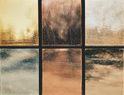 several assorted-color glass frames glass teams background