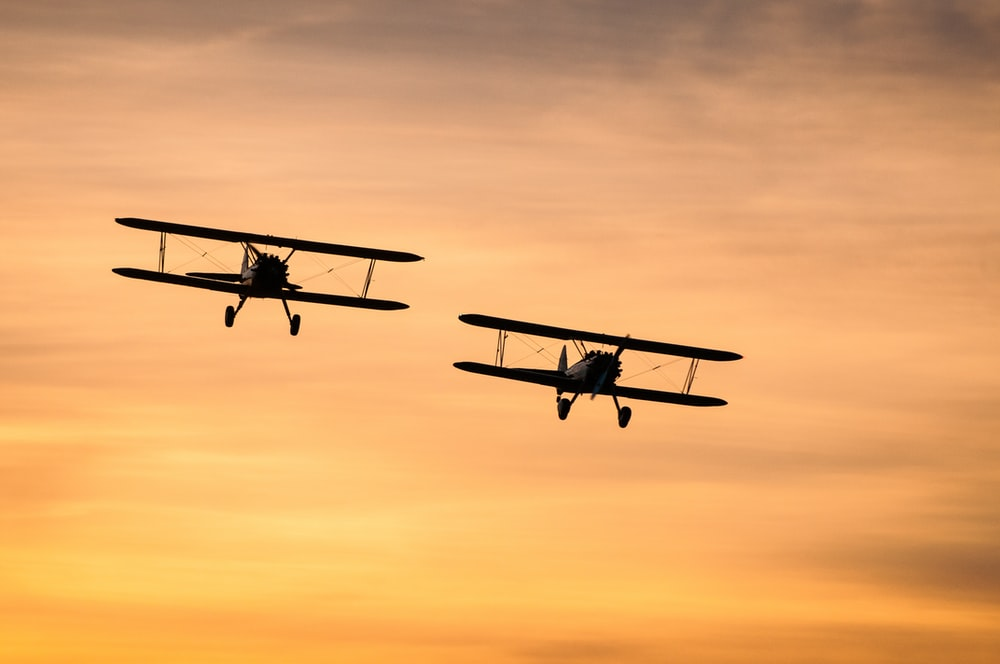 two biplanes on flight