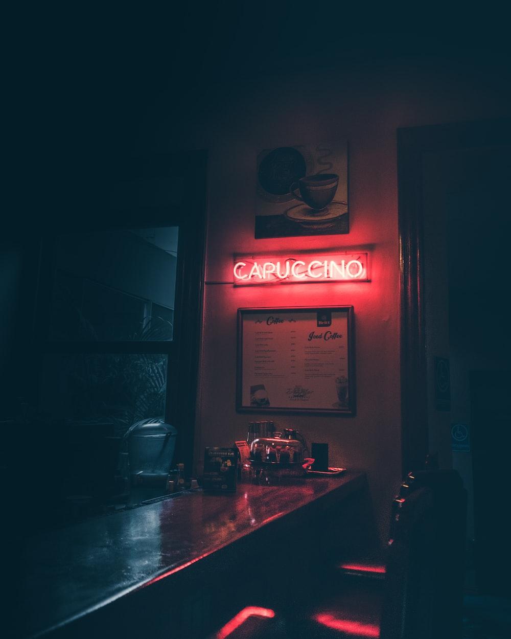 Capuccino neon signage