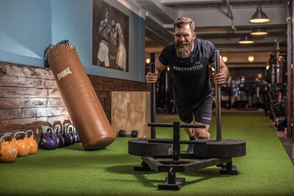 man exercising inside room