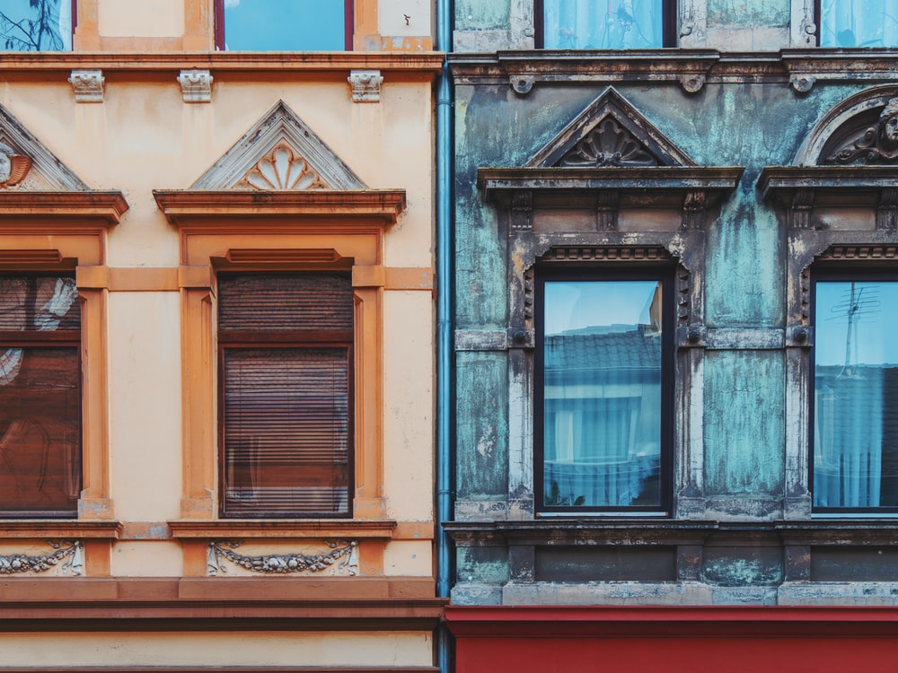 two blue and beige house wall paints photography