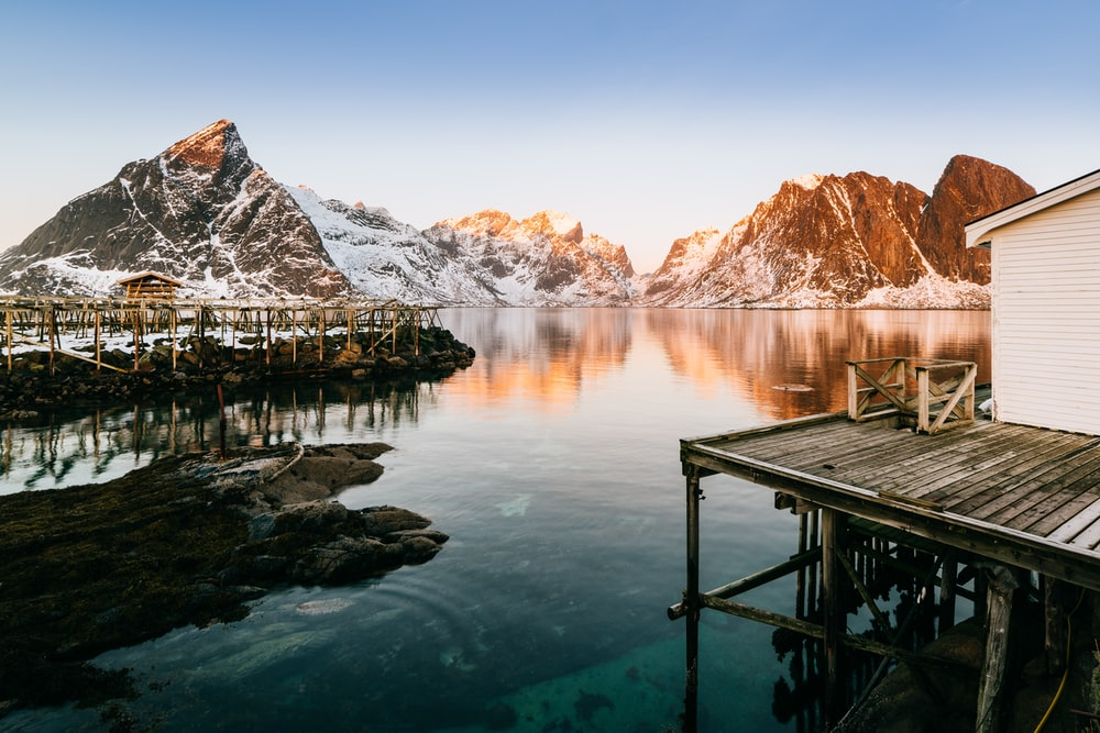 landscape photography of body of water in front of mountain