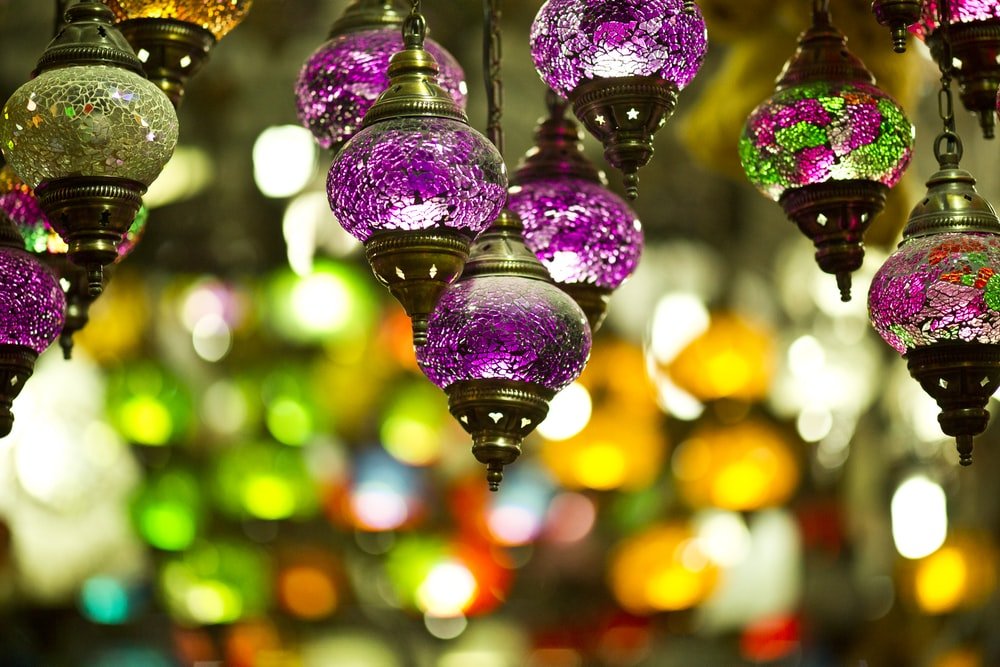 purple pendant lamps