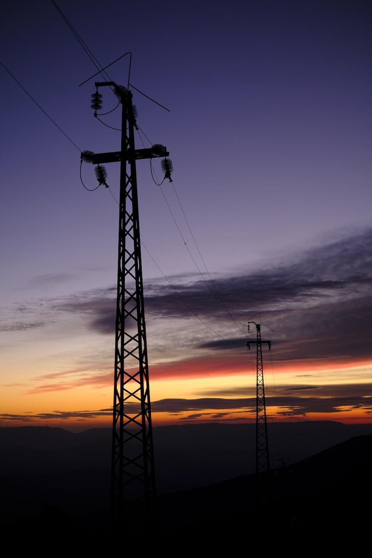 silhouette of utility pole