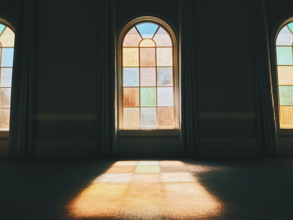 stained glass installed in wall