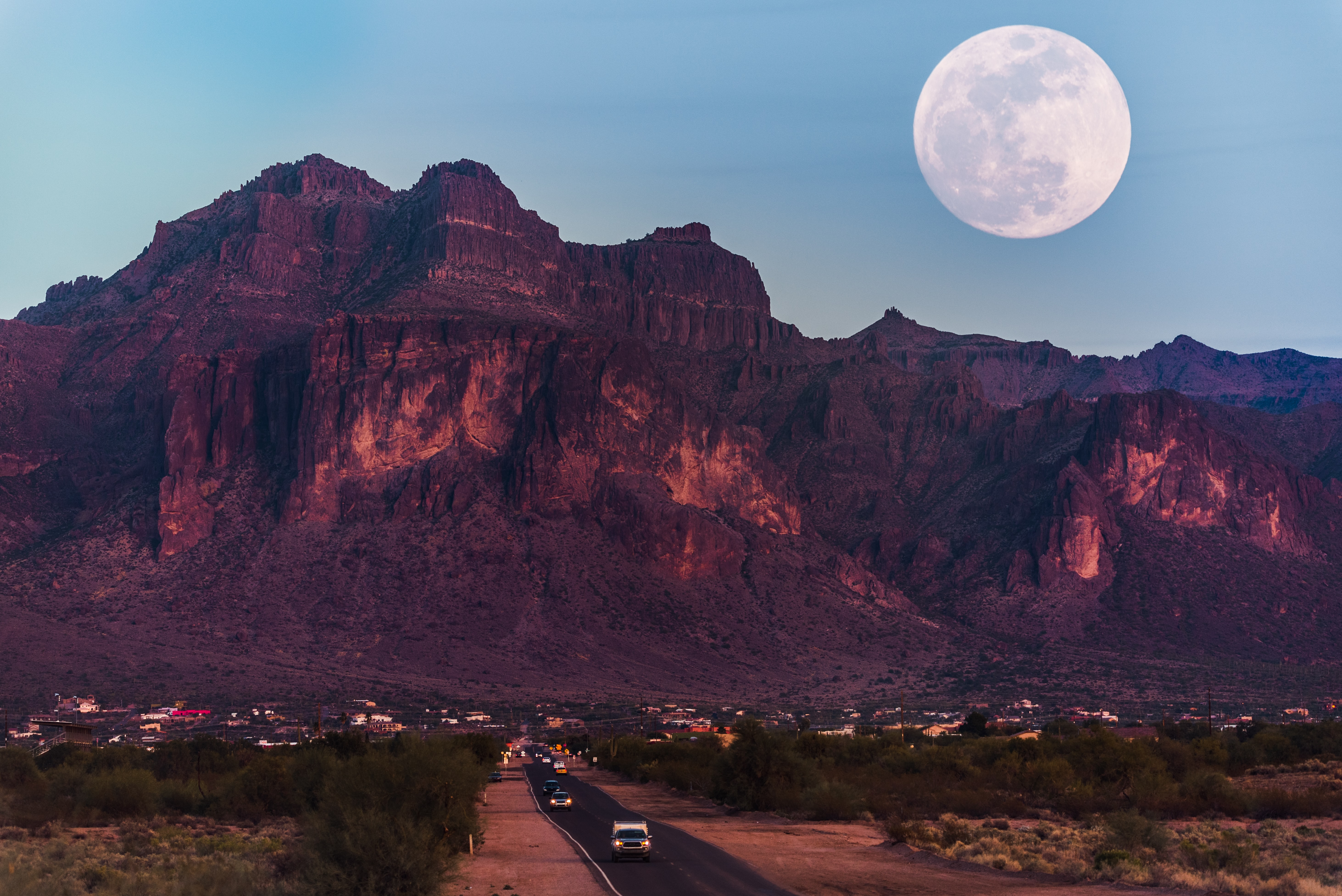 landscape photography of brown mountain under moon