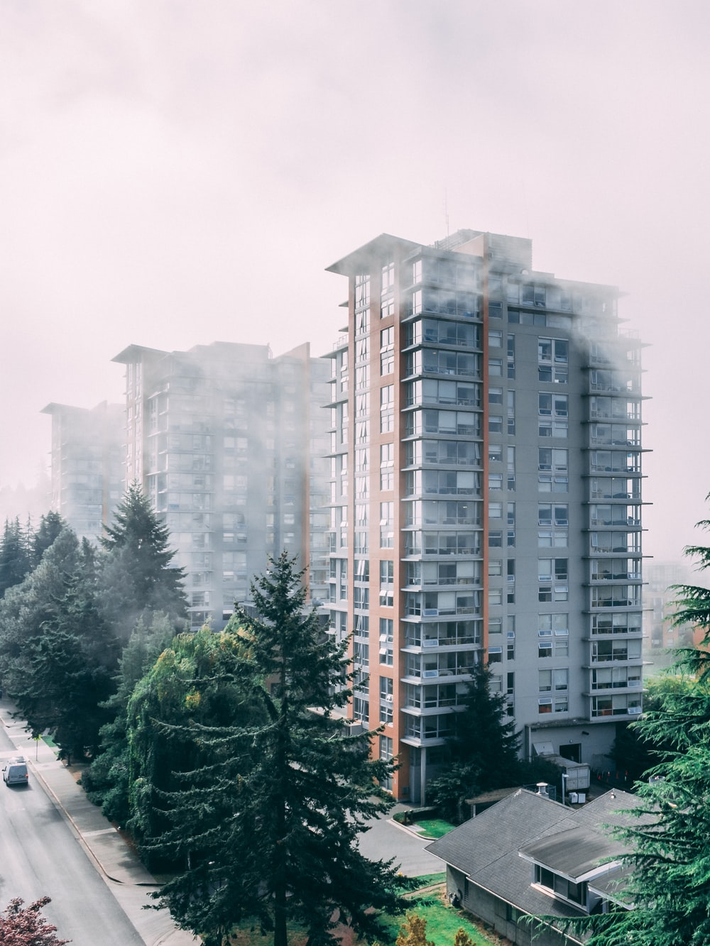 gray and brown building in foggy weather during daytime