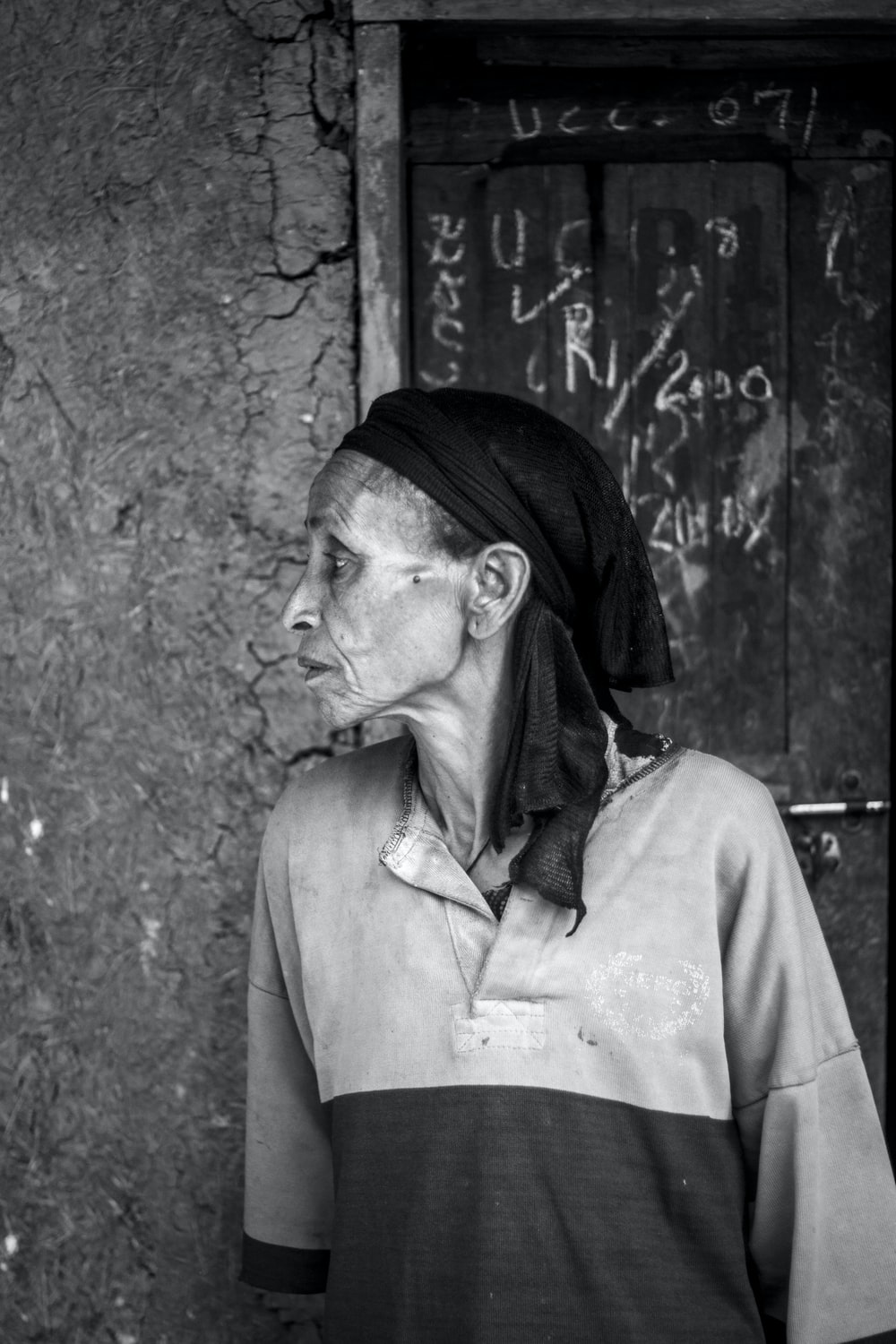 grayscale photography of woman