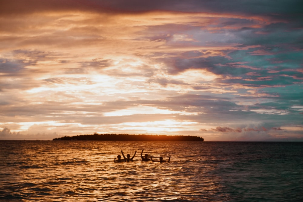 silhouette of people swimming on beach during golden hour