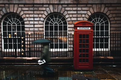 time lapse photography of woman walking on street while holding umbrella near london telephone booth beside wall london zoom background