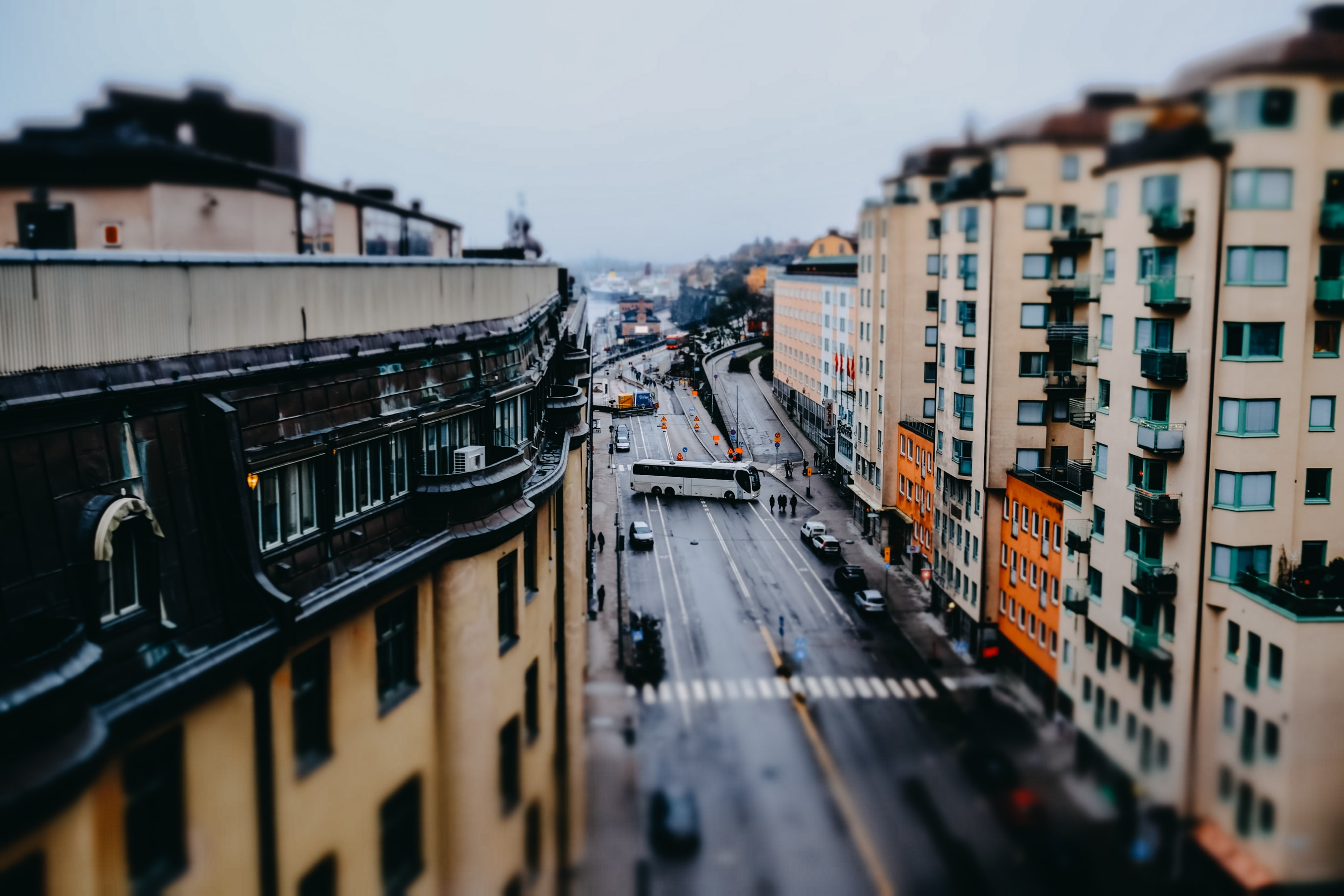top view photography of building and road