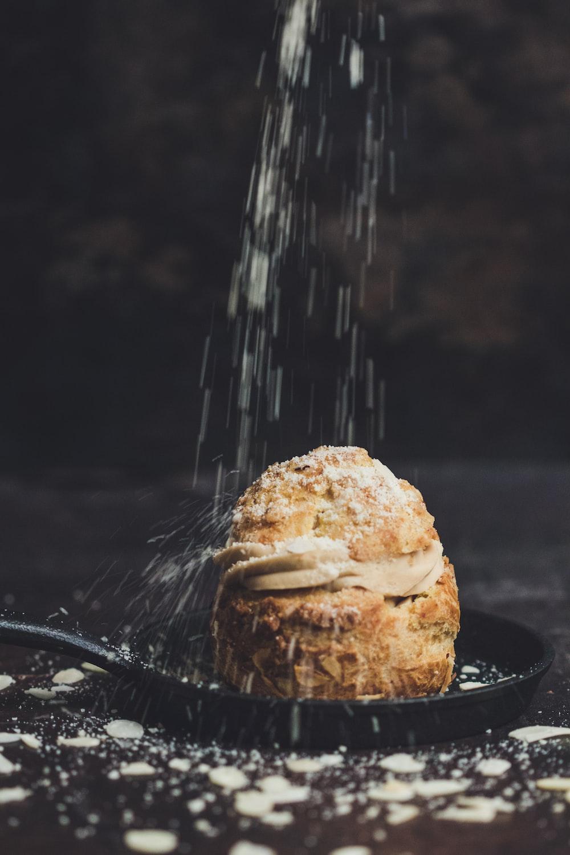 baked break sprinkled with white powder