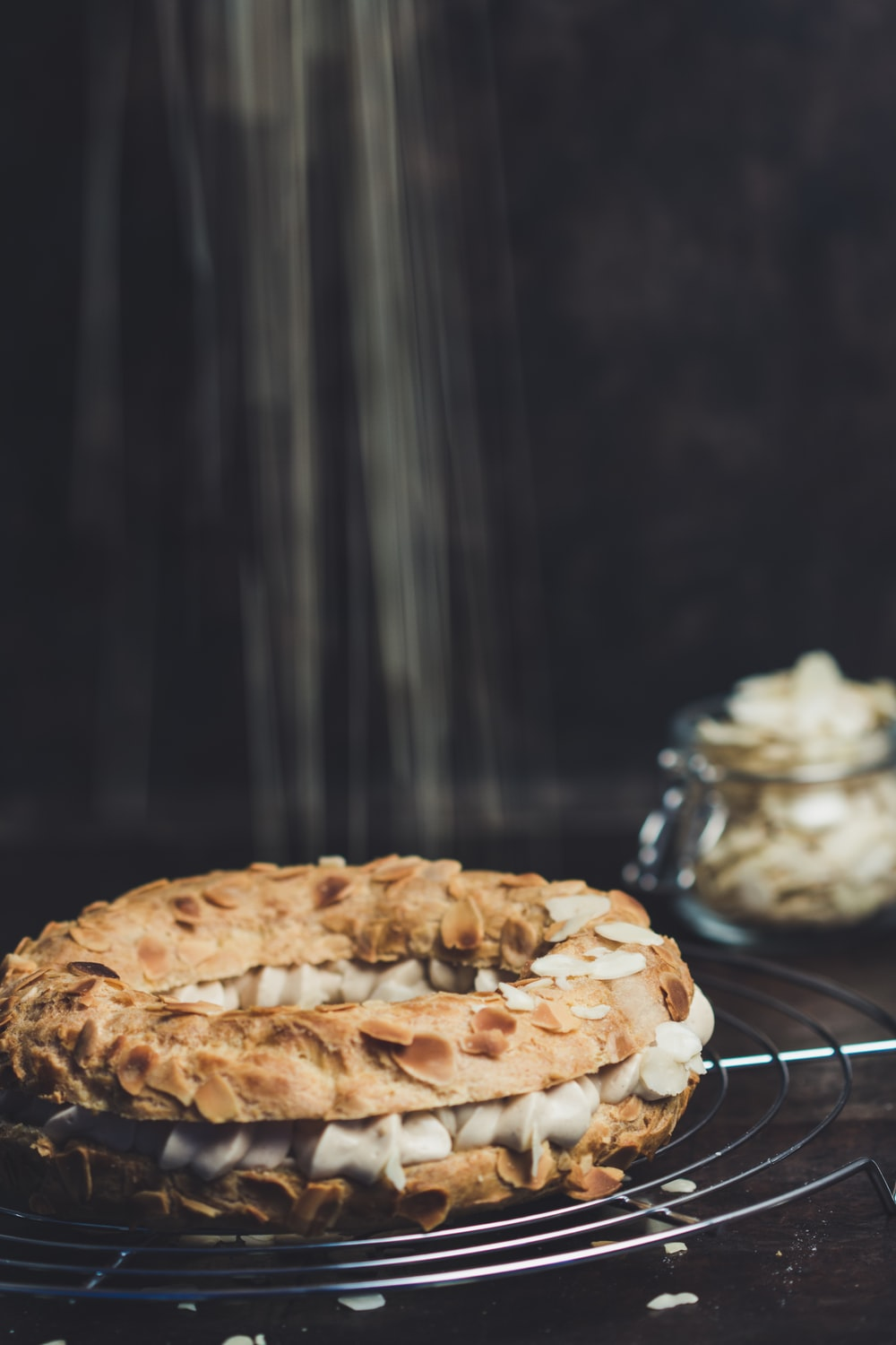 baked pastry on wire stand