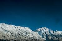 aerial view of snowy mountain peaks
